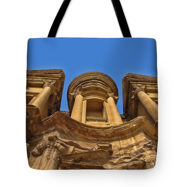 Tote Bag featuring the photograph The Monastery In Petra by David Gleeson