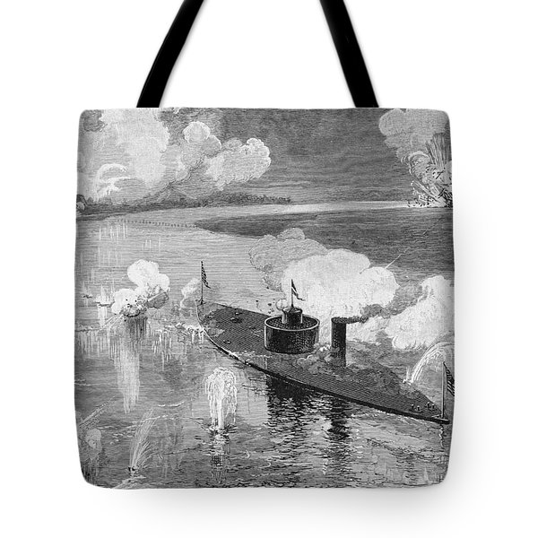 The Monitor Montauk Destroying The Confederate Privateer Nashville Near Fort Mcallister, Ogeechee Tote Bag