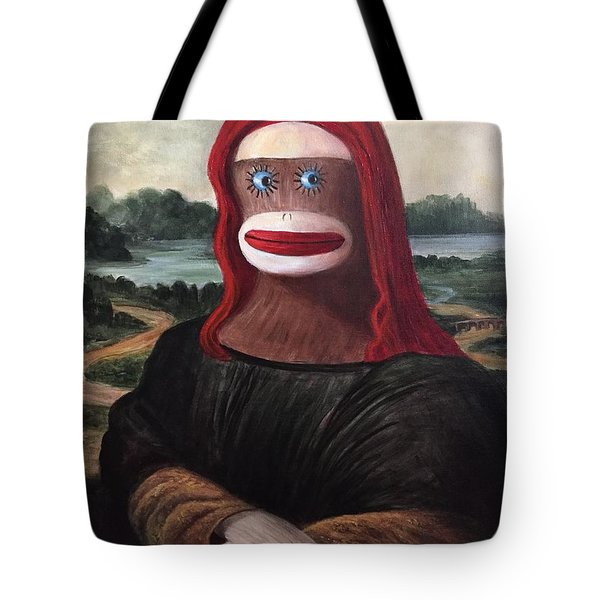 The Monkey Lisa Tote Bag by Randy Burns