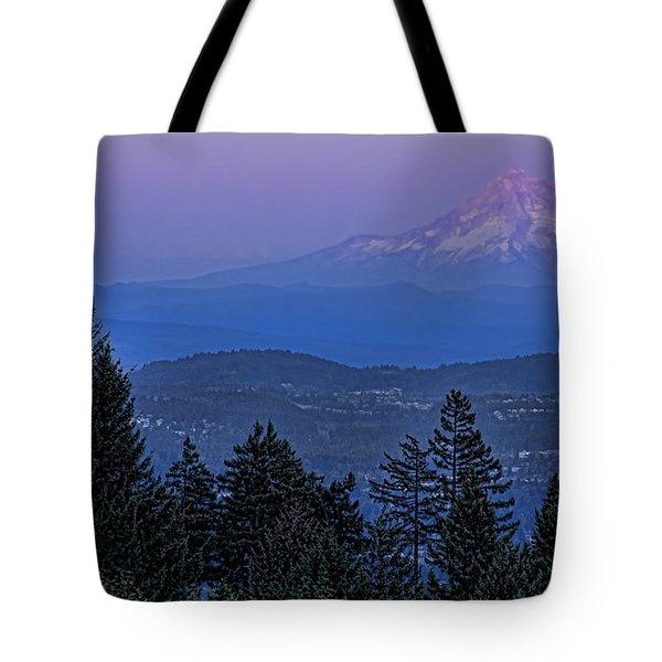 The Moon Beside Mt. Hood Tote Bag