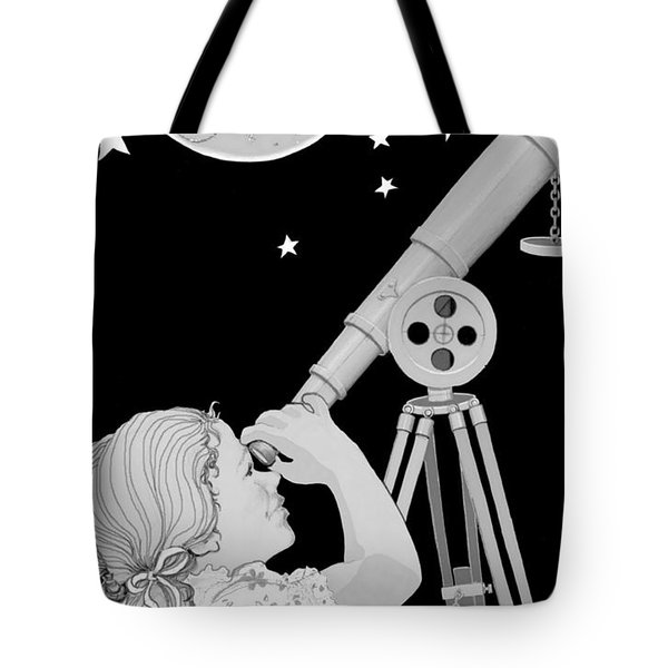 Tote Bag featuring the digital art The Moon Looks Back by Carol Jacobs