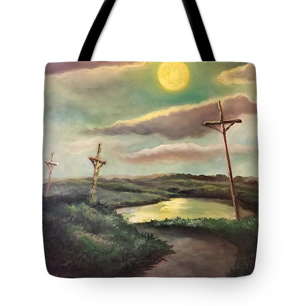 The Moon With Three Crosses Tote Bag by Randy Burns