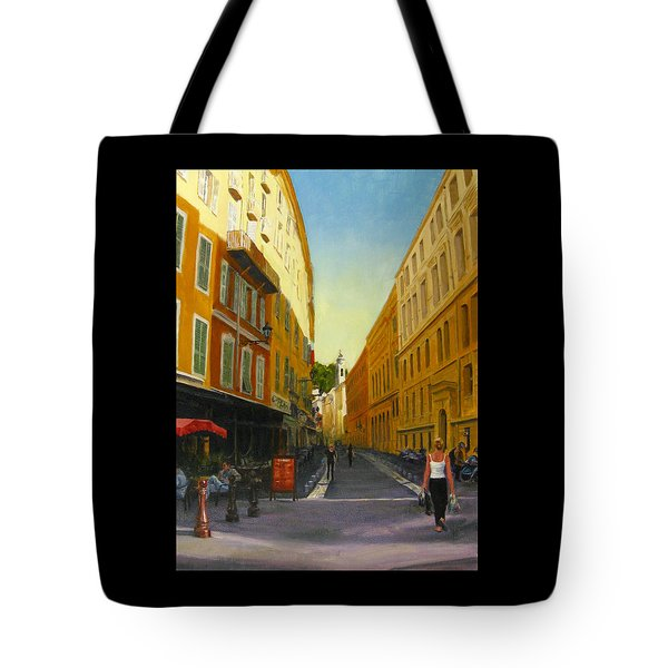 The Morning's Shopping In Vieux Nice Tote Bag by Connie Schaertl