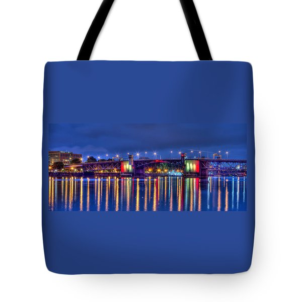 Tote Bag featuring the photograph Morrison Bridge Reflections by Thom Zehrfeld