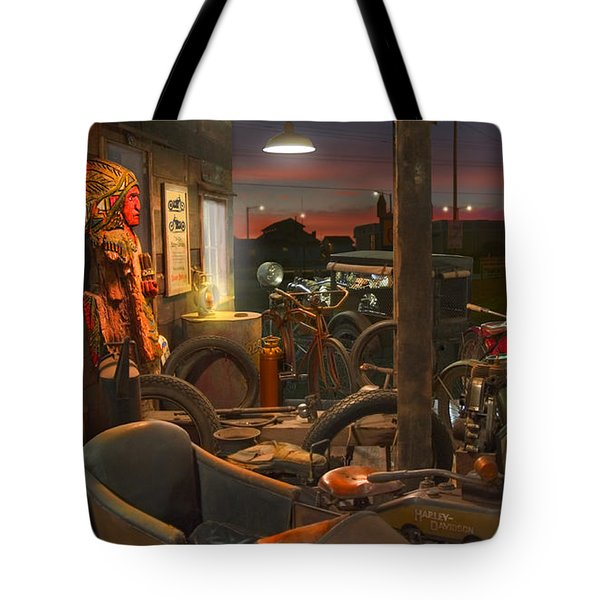 The Motorcycle Shop 2 Tote Bag by Mike McGlothlen