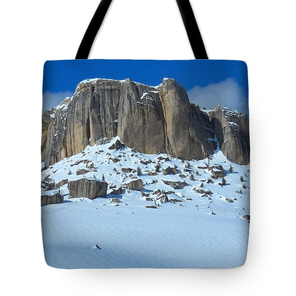 Tote Bag featuring the photograph The Mountain Citadel by Michele Myers