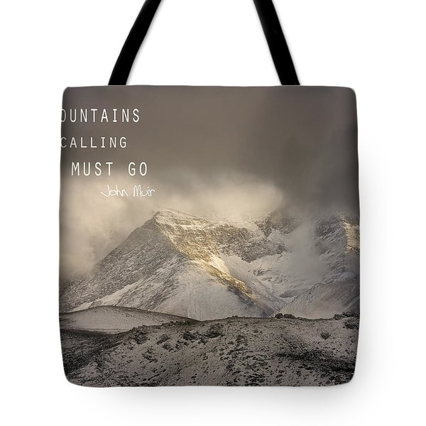 The Mountains Are Calling And I Must Go  John Muir Vintage Tote Bag by Guido Montanes Castillo