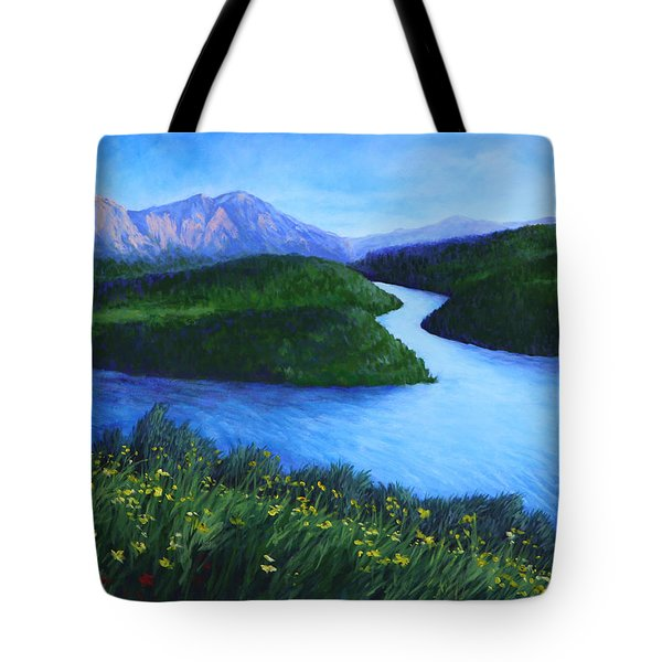 Tote Bag featuring the painting The Mountains Beyond by Penny Birch-Williams