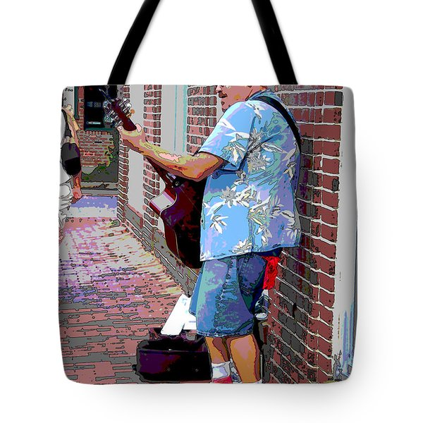 The Music Man And His Red Shoes Tote Bag by Suzanne Gaff