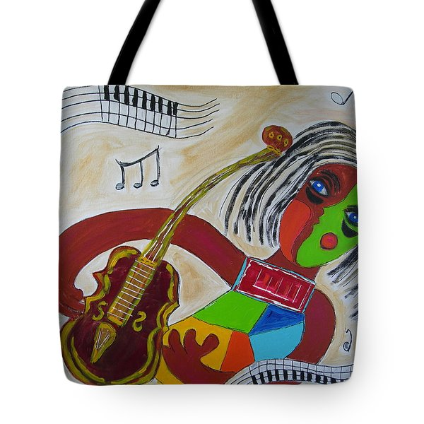 Tote Bag featuring the painting The Music Practitioner by Sharyn Winters