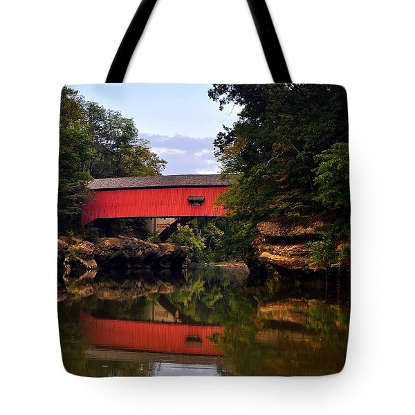 The Narrows Covered Bridge 5 Tote Bag by Marty Koch