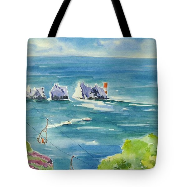 Tote Bag featuring the painting The Needles Isle Of Wight by Geeta Biswas