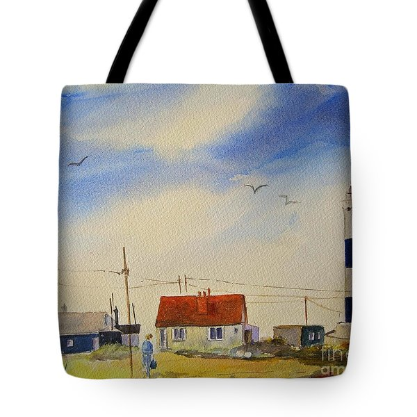 Tote Bag featuring the painting The New Lighthouse Dungeness by Beatrice Cloake