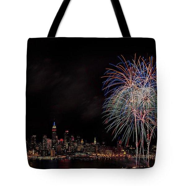 The New York City Skyline Sparkles Tote Bag by Susan Candelario