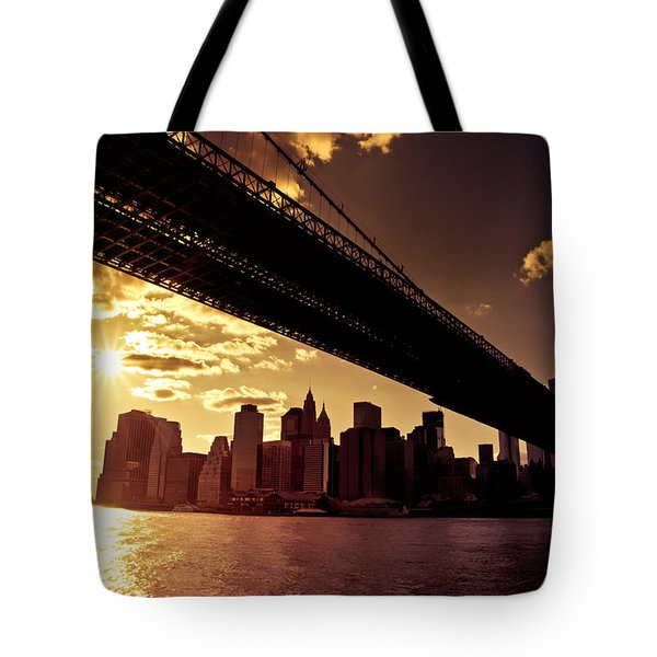 The New York City Skyline - Sunset Tote Bag by Vivienne Gucwa