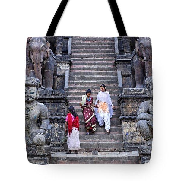 The Nyatapola Temple At Bhaktapur In Nepal Tote Bag by Robert Preston
