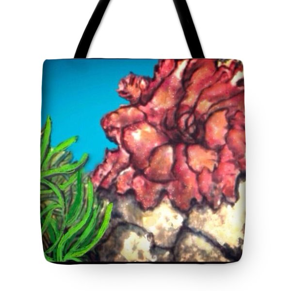 Tote Bag featuring the painting The Odd Couple Two Very Different Sea Anemones Cohabitat by Kimberlee Baxter