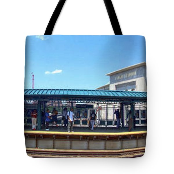 The Old And New Yankee Stadiums Panorama Tote Bag by Nishanth Gopinathan