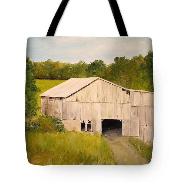 Tote Bag featuring the painting The Old Barn by Alan Lakin