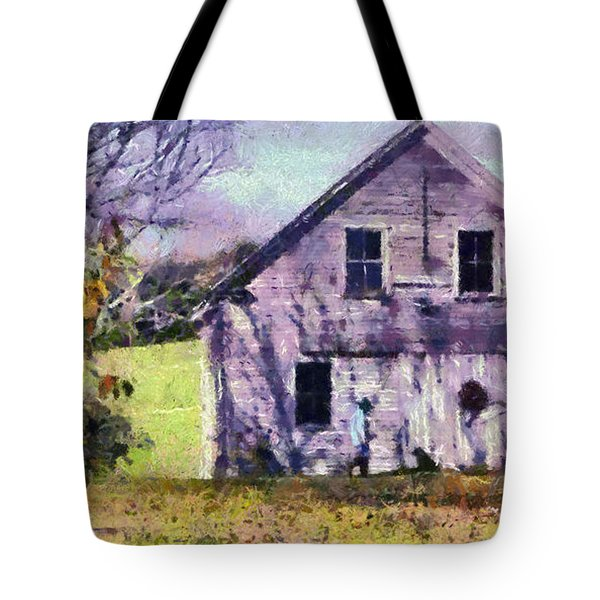 Tote Bag featuring the painting The Old Barn by Elizabeth Coats