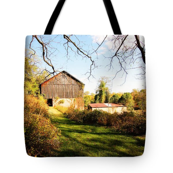 Tote Bag featuring the photograph The Old Barn by Trina  Ansel