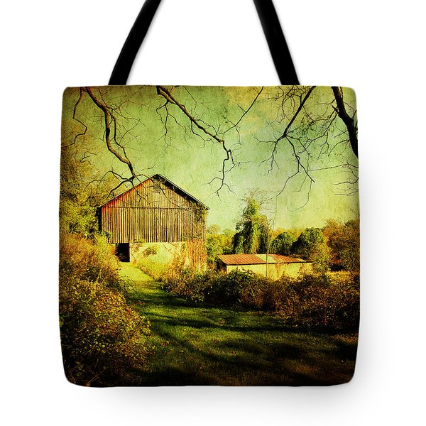 Tote Bag featuring the photograph The Old Barn With Texture by Trina  Ansel