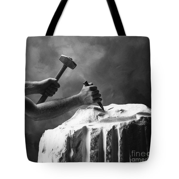 Tote Bag featuring the photograph Chipping The Old Block by Mark Greenberg