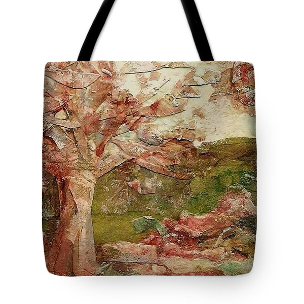 Tote Bag featuring the painting The Old Fence Line by Mary Wolf