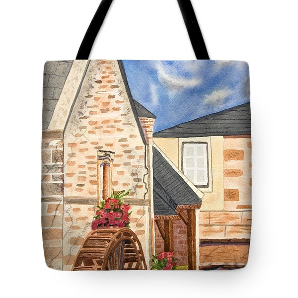 The Old French Mill Watercolor Art Prints Tote Bag