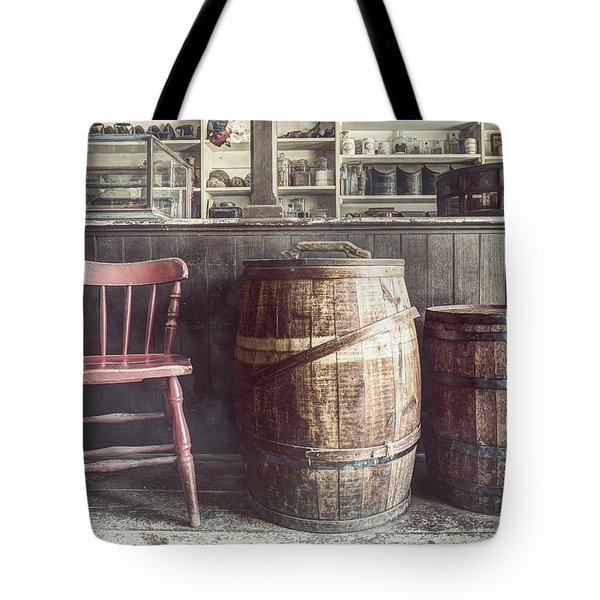 The Old General Store - Red Chair And Barrels In This 19th Century Store Tote Bag