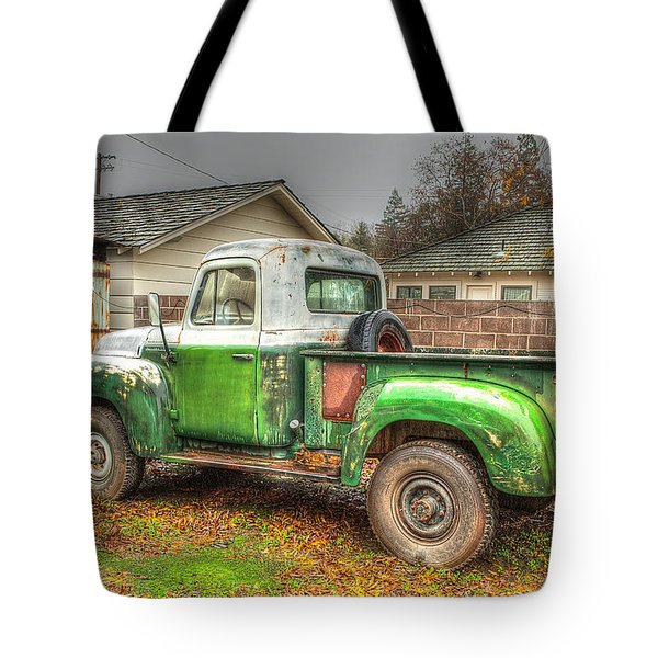 Tote Bag featuring the photograph The Old Green Truck by Jim Thompson