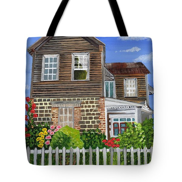 Tote Bag featuring the painting The Old House by Laura Forde