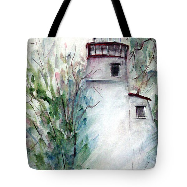 Tote Bag featuring the painting The Old Lighthouse by Dorothy Maier
