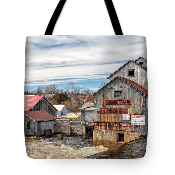 The Old Mill And The Raging River Tote Bag