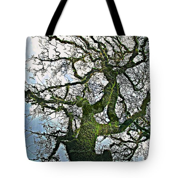 The Old Mossy Oak Tree Against Cloudy Sky Tote Bag