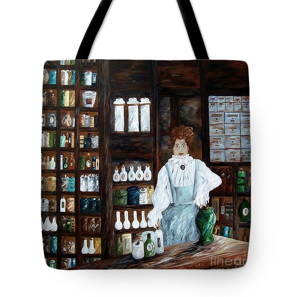 Tote Bag featuring the painting The Old Pharmacy ... Medicine In The Making by Eloise Schneider