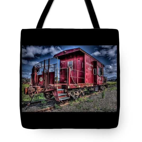 Tote Bag featuring the photograph Old Red Caboose by Thom Zehrfeld