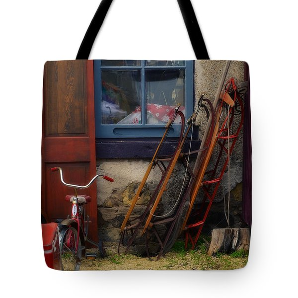The Old Sleds Tote Bag by Mary Machare
