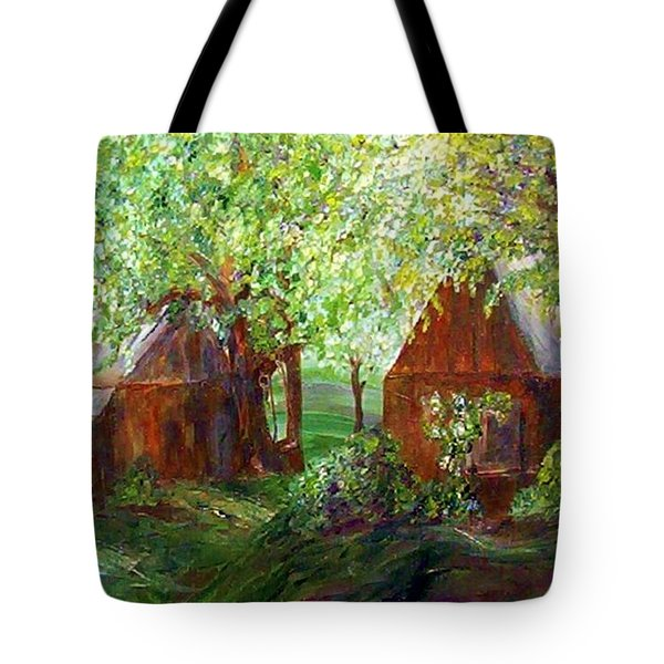 Tote Bag featuring the painting The Old Swing Between The House And The Barn by Eloise Schneider
