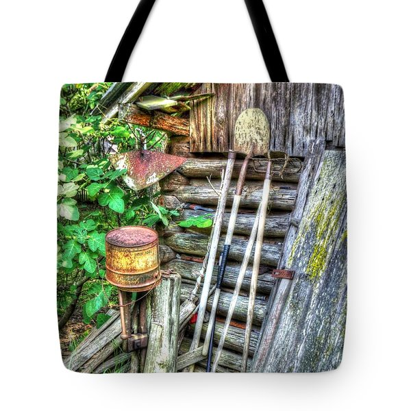 Tote Bag featuring the photograph The Old Tool Shed by Lanita Williams