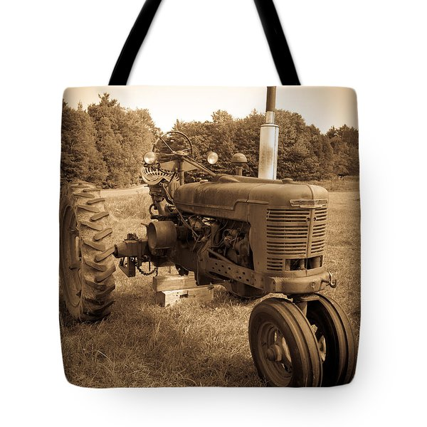 The Old Tractor Sepia Tote Bag