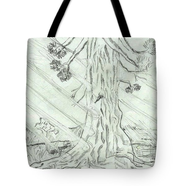 Tote Bag featuring the drawing The Old Tree In Spring Light  - Sketch by Felicia Tica
