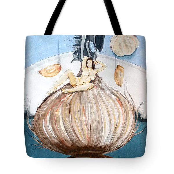 Tote Bag featuring the painting The Onion Maiden And Her Hair La Doncella Cebolla Y Su Cabello by Lazaro Hurtado
