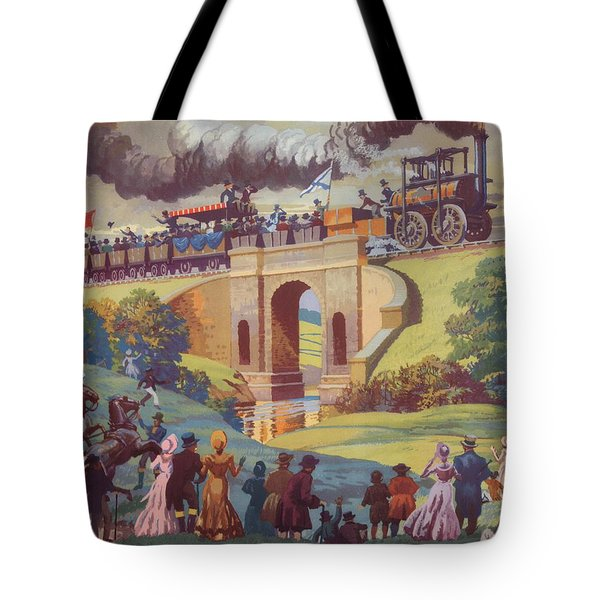 The Opening Of The Stockton And Darlington Railway Macmillan Poster Tote Bag by Norman Howard