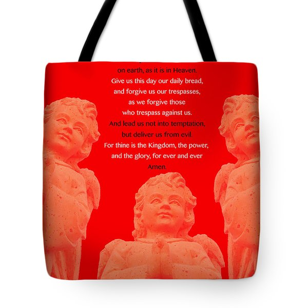 The Our Father Prayer With Angels 2 Tote Bag