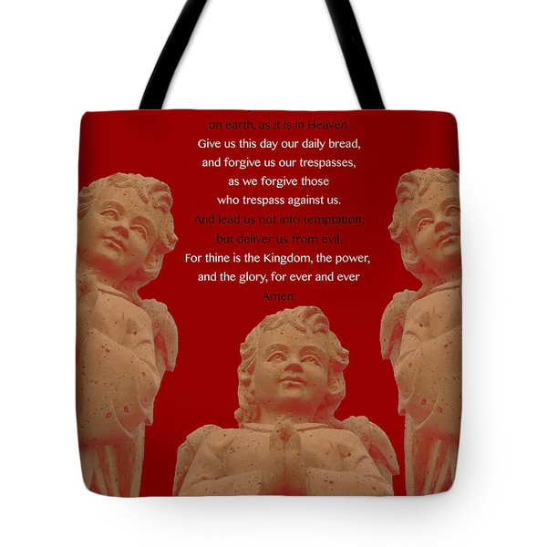The Our Father Prayer With Angels Tote Bag