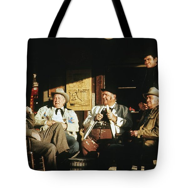 Tote Bag featuring the photograph The Over The Hill Gang  Johnny Cash Porch Old Tucson Arizona 1971 by David Lee Guss