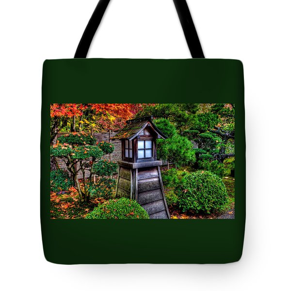 Tote Bag featuring the photograph The Pagoda At The Japanese Gardens by Thom Zehrfeld