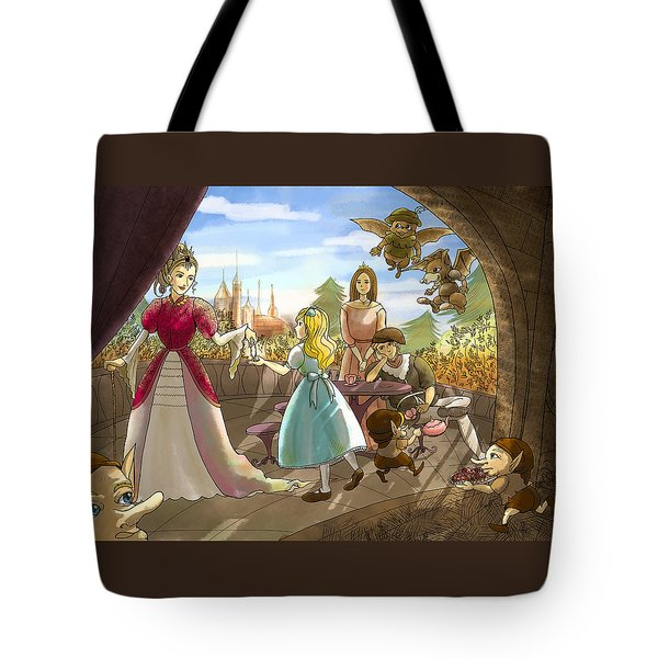 Tote Bag featuring the painting The Palace Balcony by Reynold Jay