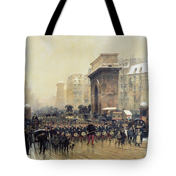 The Passing Regiment, 1875 Oil On Canvas Tote Bag